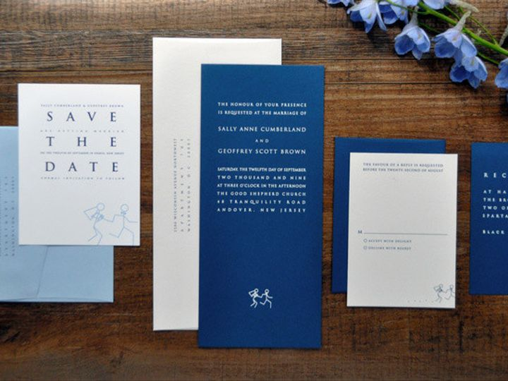 Tmx 1418951637250 Blueandwhitetealengthweddinginvitaitons Sparta wedding invitation