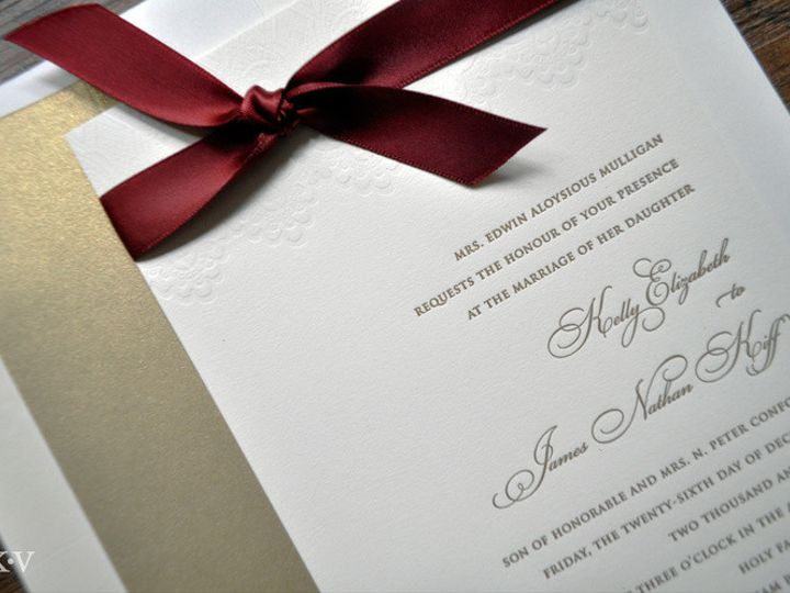 Tmx 1418951684704 Goldletterpressweddinginvitations Sparta wedding invitation