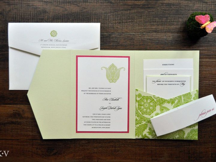 Tmx 1418951688538 Greenandfuchsiapasileypocketweddinginvitations Sparta wedding invitation