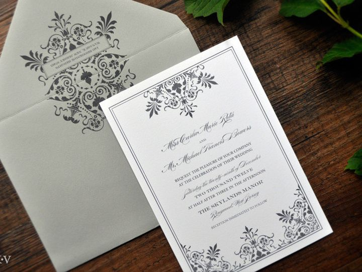 Tmx 1418951694090 Greyornateweddinginvitations Sparta wedding invitation