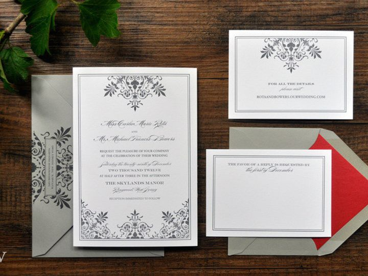 Tmx 1418951698902 Greyornateweddinginvitationswithredenvelopeliner Sparta wedding invitation