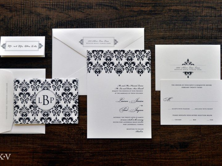 Tmx 1418952105455 Blackandwhitedamaskweddinginvitations 1 Sparta wedding invitation