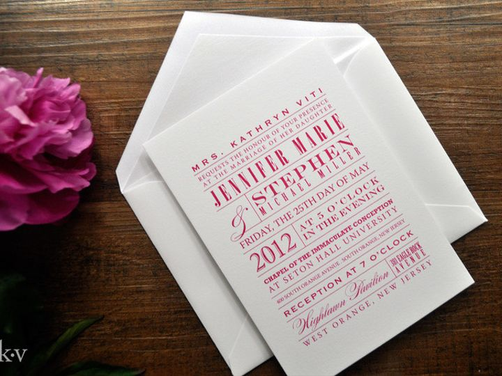 Tmx 1418952118209 Fuchsiamoderntypeweddinginvitations Sparta wedding invitation