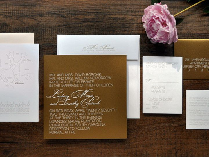 Tmx 1418952123039 Goldandwhitemodernsquareweddinginvitations Sparta wedding invitation