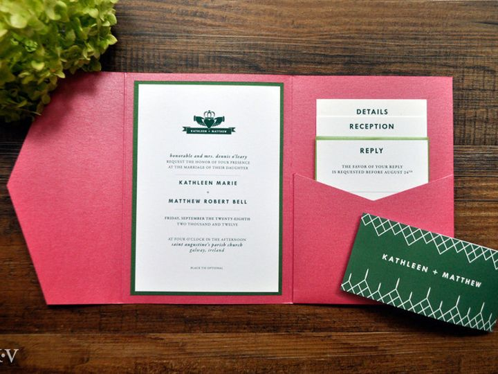 Tmx 1418952152054 Irishcladdaghpocketweddinginvitations Sparta wedding invitation