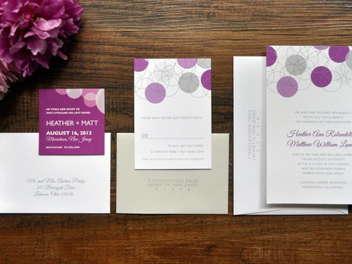 Tmx 1418952157202 Moderngreyandpurplecircleweddinginvitations 1 Sparta wedding invitation