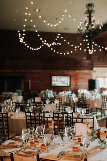 Hanging lights and table decor