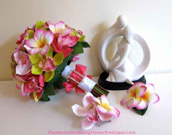 Orchid and Plumeria bridal bouquet