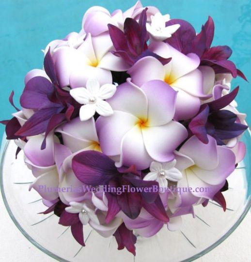 Plumeria, Orchid, and Stephanotis bridal bouquet