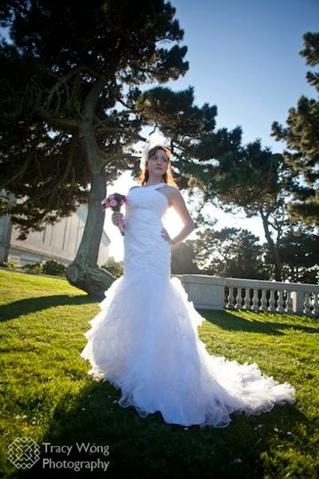 A beautiful bride glowing in the sunlight