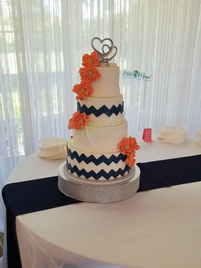 Navy Chevron and Coral flowers