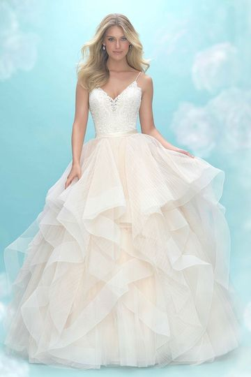 8f52699bcf5e Allure Bridals Allure Bridals 9450 Airy, textured ruffles comprise the  skirt of this delicate ballgown.