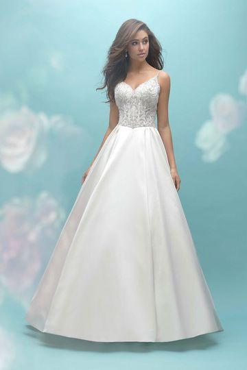 13c00512c4 Allure Bridals 9454 This satin ballgown features a beaded bodice and v-back.