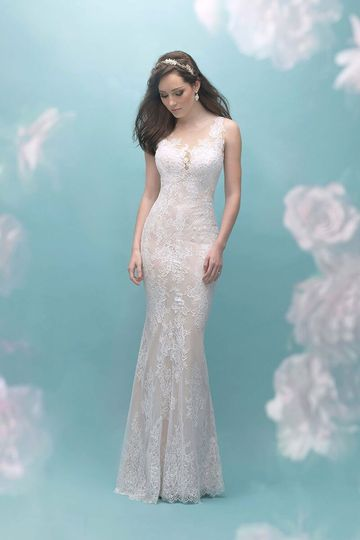 91d0441b532 Allure Bridals 9455 A charmeuse slip adds just enough contrast to this  feminine