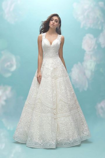 ed357507d76 Allure Bridals 9457 Textured lace is emphasized throughout this illusion  back A-line gown.