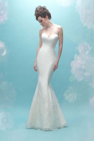 Allure Bridals	9458		A whisper of lace accents the bottom of this statuesque silk Mikado sheath....