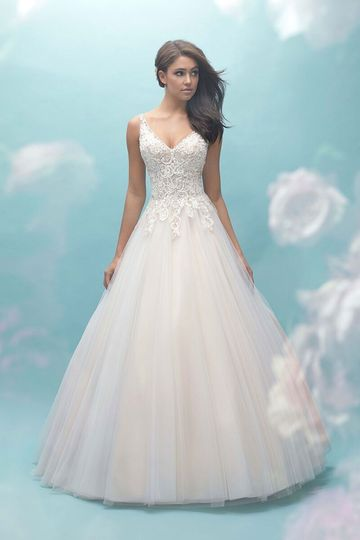 Allure Bridals	9459		This multilayered tulle ballgown is a dream come true, with draped strings...