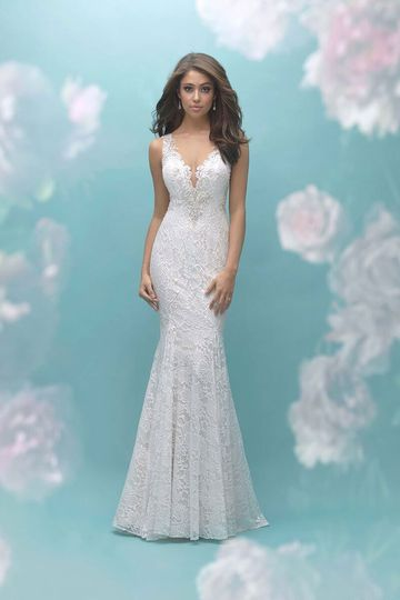 Allure Bridals	9460		Floral lace pairs beautifully with the beaded embroidery adorning the...