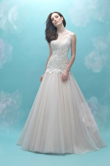 Allure Bridals	9461		A dropped waistline and open back make an elegant vintage statement in this...