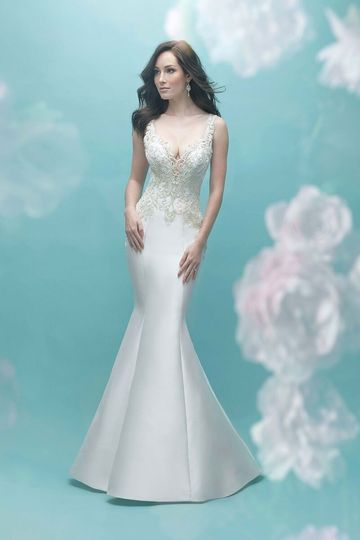 Allure Bridals	9465		Silk Mikado and a beaded embroidered bodice are the perfect combination in...