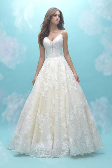 Allure Bridals	9466		This elegantly simple ballgown was designed for the lace lovers.