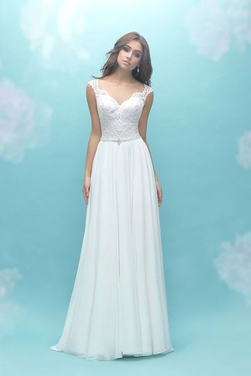 Allure Bridals	9467		The illusion neckline and back of this A-line dress are topped with...