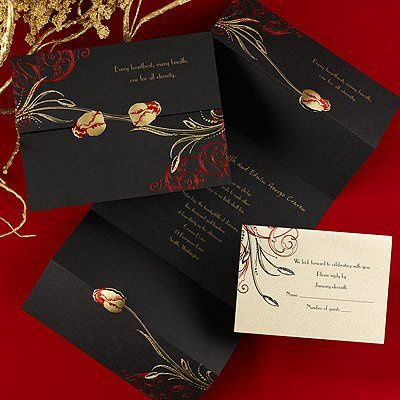 Black invitation with gold and red ink