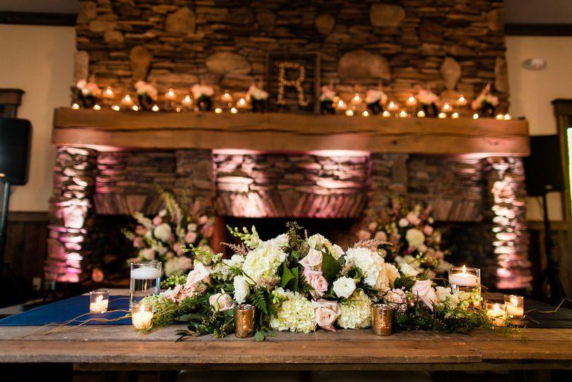 Sweetheart table flower arrangement