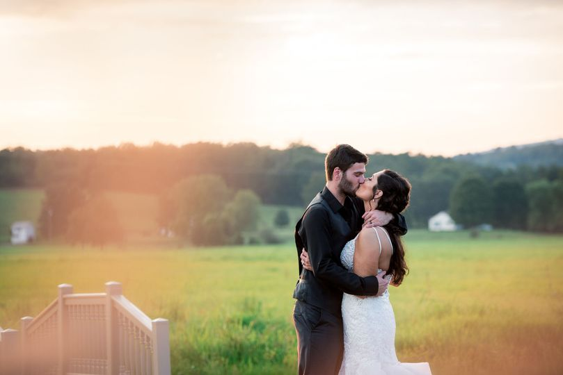 Golder hour wedding portrait in West Virginia