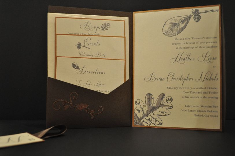 Pocket-Suite Invitation with shimmering cardstock and copper embossing