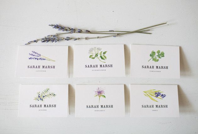 Botanical and Herb Escort Cards  Sarah and Todd wanted their stationery and day of paper goods  to...
