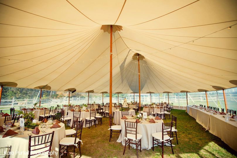 Eco-friendly tent-wedding at Snow Moon Ranch in Maple City, MI.