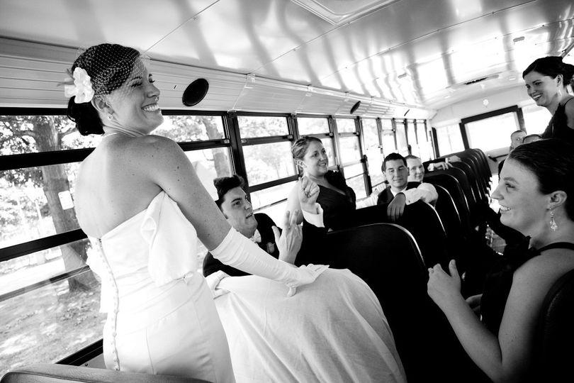 Bride inside the bus