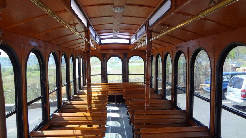 Trolley interior oak benches