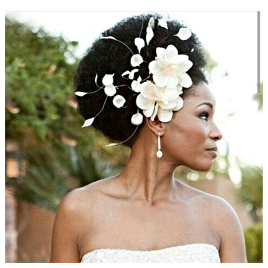 Natural Afro style with flowers