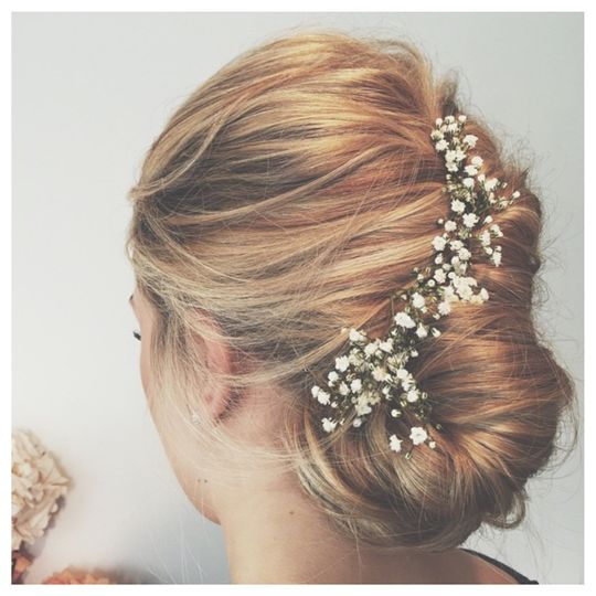 Classic French updo with flowers