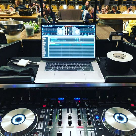 Behind the decks at Chef Duel