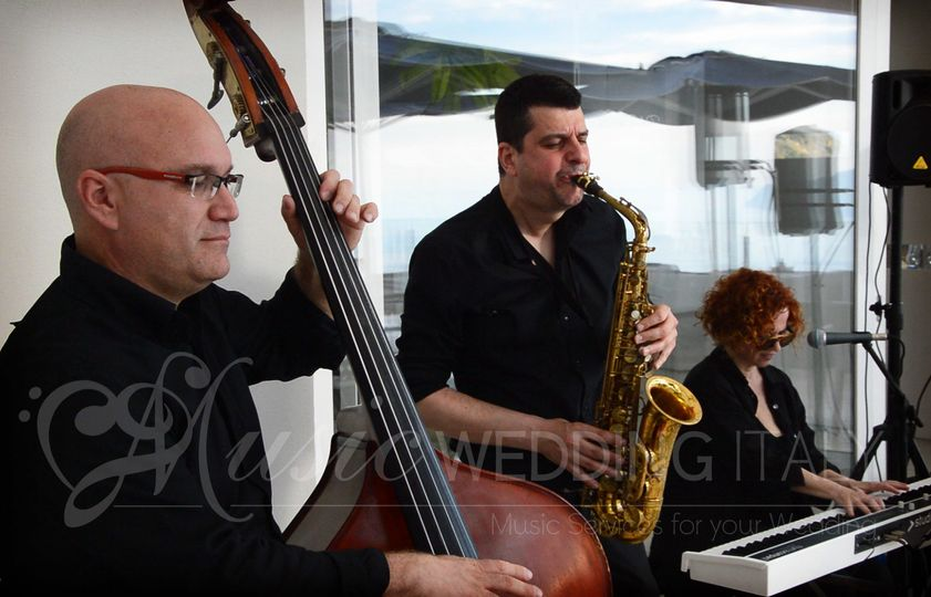 Wedding jazz band trio PIANO AND SINGER, BASS AND SAX