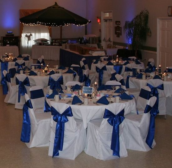 Reception area with blue ribbons
