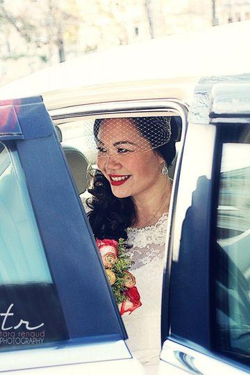 Bride in her car