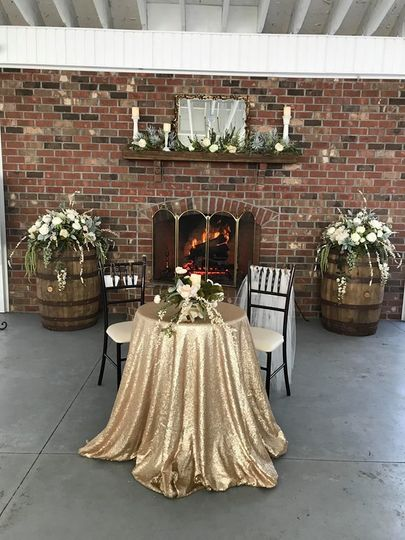 Sweetheart table. Decorations and flowers