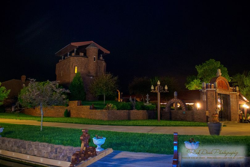 The pool side at night