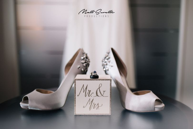 Bridal shoes and the wedding ring