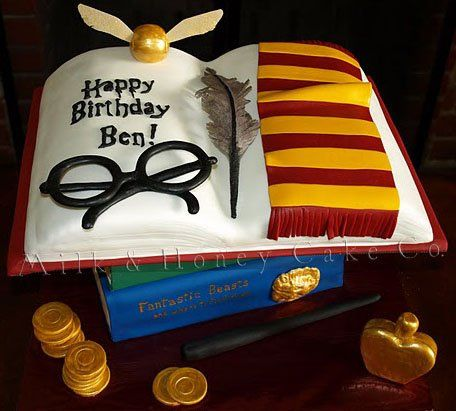 Harry Potter birthday cake, chocolate cake with chocolate cream filling.