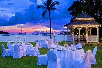 Wedding celebration at The Gazebo at dusk, The Westin St. John Resort & Villas