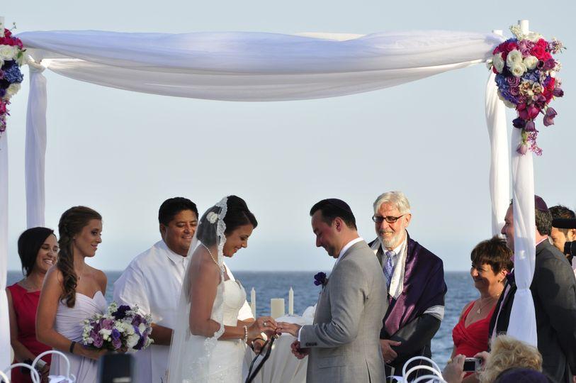 Cabo San Lucas Destination Wedding. Rabbi Michael Mayersohn performed an interfaith wedding ceremony...