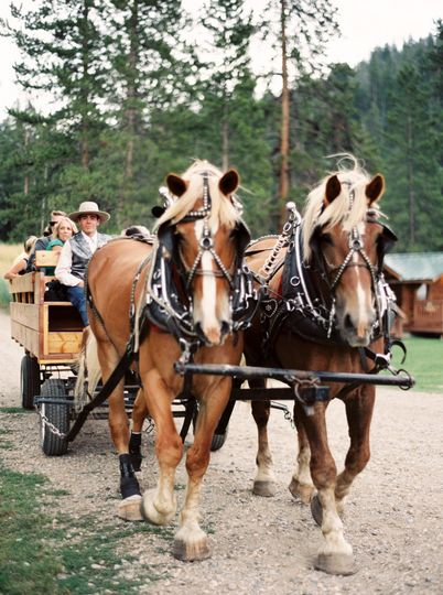 Wagon ride to the ceremony