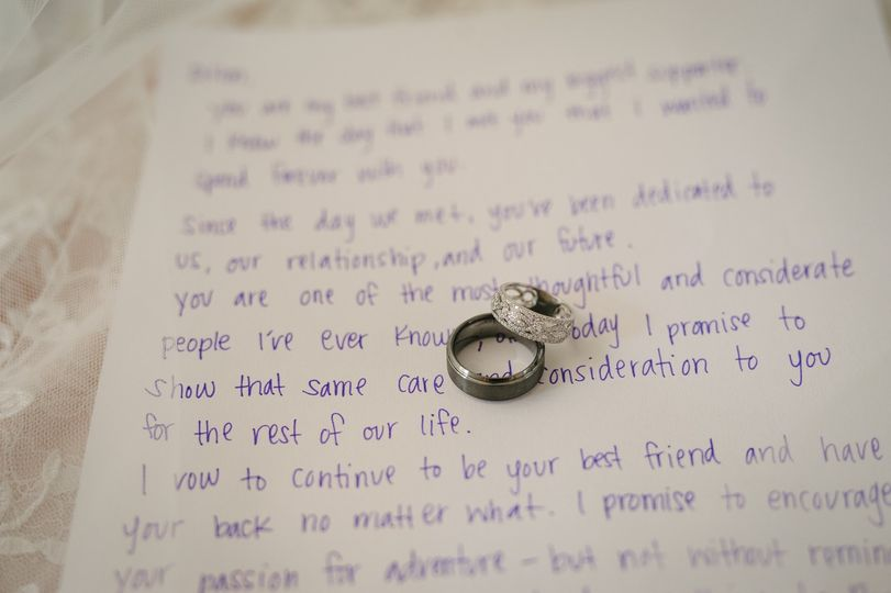 Wedding rings on vows