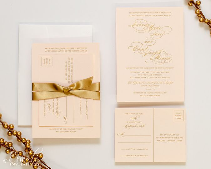 Fancy invite with gold bow