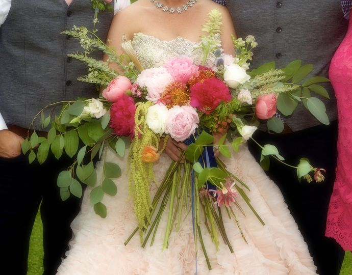 Large bridal bouquet in pinks